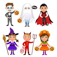 Set of cute cartoon children in halloween costumes. Vampire Dracula, devil, witch, pumpkin, ghost, skeleton. Halloween boys and girls. Vector characters.
