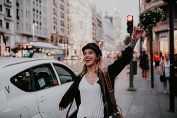 Happy girl posing on the street