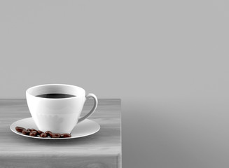 3d rendering. black coffee on white cup and beans on wood table with gray copy space as background