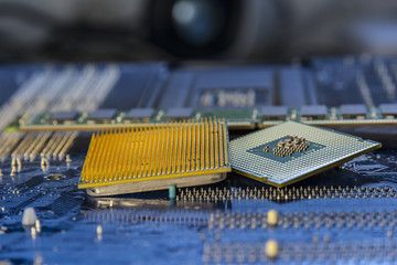 Technology background with computer processors CPU concept blue circuit board texture