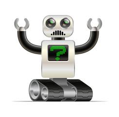 character sad robot on the tracks