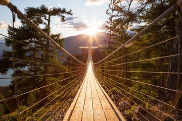 Suspension Bridge on Top of a Mountain in Squamish, North of Vancouver, British Columbia, Canada.