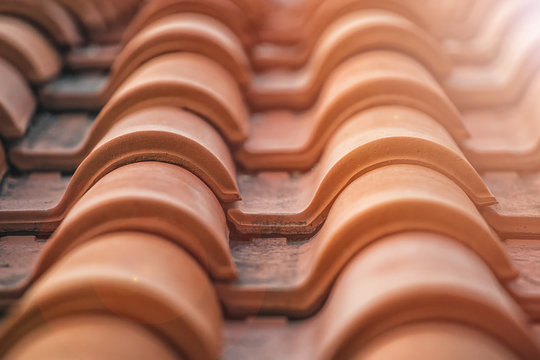 Spanish tile roof. Abstract background texture Mediterranean architectural details.
