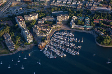 Aerial view of a marina in False Creek, Downtown Vancouver, BC, Canada.