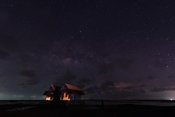 Milky Way Galaxy over old hut at night sky,Thailand