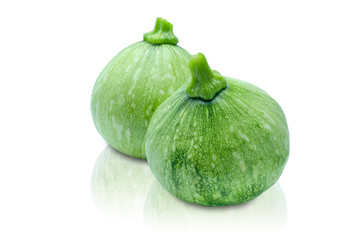 Two green fresh baby pumpkin isolated on white background with clipping path.