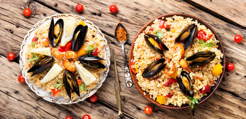 Spanish paella with seafood
