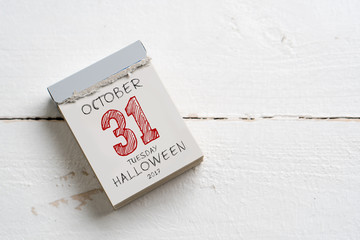 Tear-Off calendar with the date of Halloween