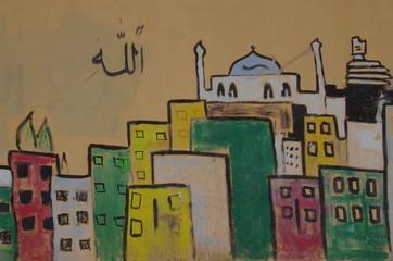 ヨルダン、街並みを描いたカラフルな壁画