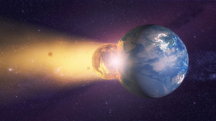 3d rendering. Meteorite crashing against planet earth