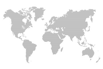 World stripes map. Vector illustration.