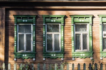 old wooden windows on an old wooden house