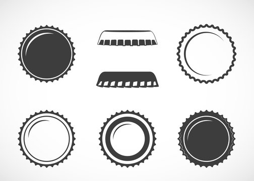 Bottle cap. Set of vector icons.