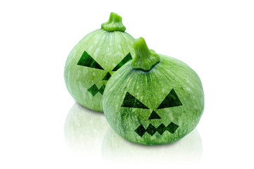 Pumpkins Halloween painted with black. Angry face. Isolated on white background with clipping path.