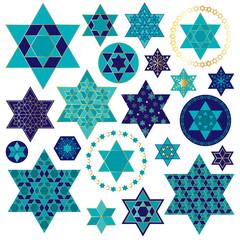 blue gold Jewish star clipart