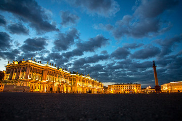 Palace Square, St. Petersburg, Russia. White night, cloudy sky.