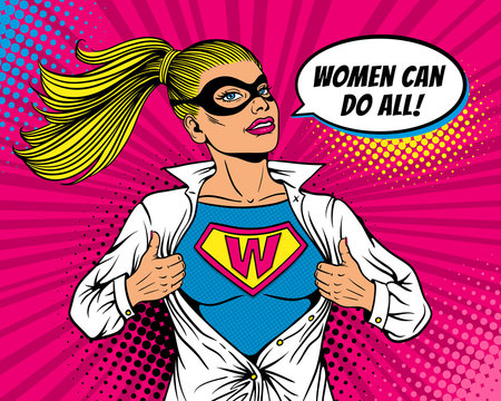 Pop art superhero. Young sexy woman dressed in mask and white jacket shows superhero t-shirt with W sign on chest and Women can do all speech bubble. Vector illustration in retro pop art comic style.