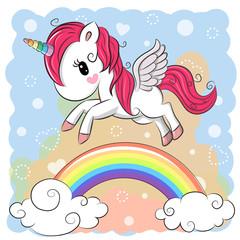 Cute Cartoon Unicorn and rainbow