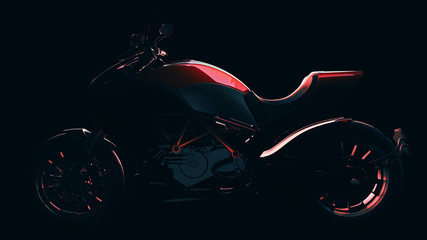 Red motorcycle with black backdrop. 3d rendering and illustration.