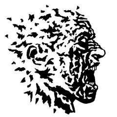 Profile of the screaming profile zombie head. Vector illustration.