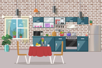 Kitchen interior with table, stove, cupboard, dishes, appliances and fridge vector illustration. Flat design.