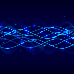 Neon spiral abstract blue background. Vector illustration