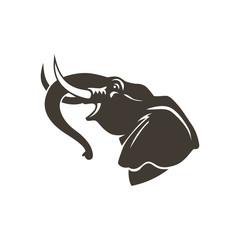 head elephant sign logo emblem isolated