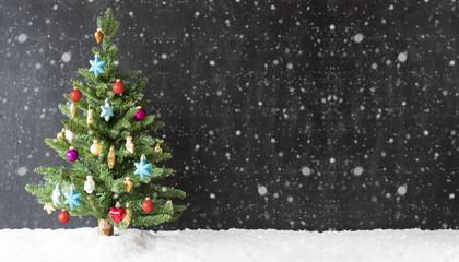 Colorful Christmas Tree, Snow, Copy Space, Snowflakes