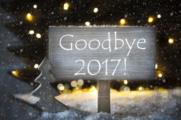 White Christmas Tree, Text Goodbye 2017, Snowflakes