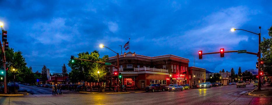 Night falls in Cody Wyoming
