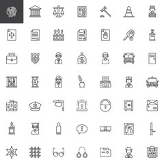 Law and justice line icons set, outline vector symbol collection, linear style pictogram pack. Signs, logo illustration. Set includes icons as fingerprint, courthouse, prison, policeman, judge