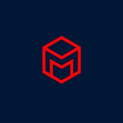 M letter. M monogram.  Red letter M on a dark background