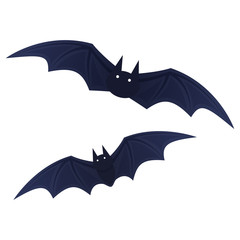 Flying bat, scary cartoon Halloween illustration Vector