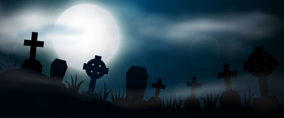 Night cemetery, crosses, tombstones and graves, horizontal banner. Colorful scary Halloween illustration. Vector