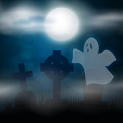 Night cemetery, crosses, tombstones and graves. Colorful scary Halloween illustration. Vector