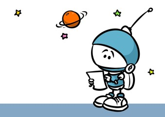 Little Astronaut planet research cartoon illustration