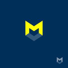 M letter. M monogram. letter M on a dark background