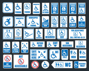 handicap signs, wc and parking icons, disabled people