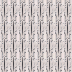 Vector seamless pattern with stylized feathers. Monochrome elegant background