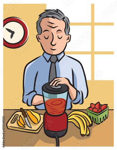 50+ mature man makes his morning smoothie