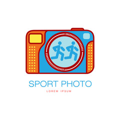 Vector sport photo camera colored icon pictogram. Flat cartoon isolated illustration on a white background. Logo brand concept for photo studio design