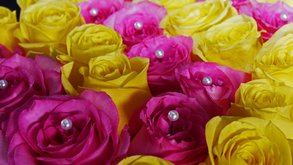 Pink and Yellow Roses with Pearls