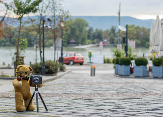 Old teddy bear taking pictures with and old machine on a european street