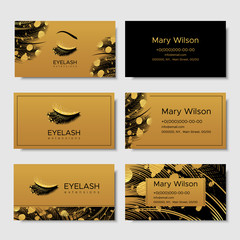 Branding for salon eyelash extension, shop cosmetic products, lashmaker, stylist. Logo, business card. Design with gold elements. Vector illustration in modern style
