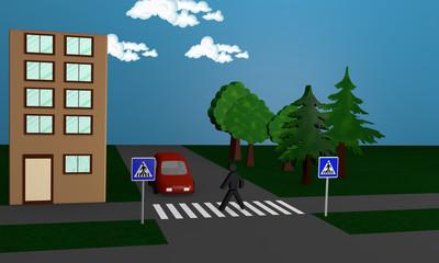 Straßenbild mit einem Fußgänger der eine Straße überquert