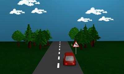 Straße mit Auto an dem das Verkehrsschild Wildwechsel steht.