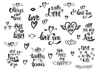 1554485 Vector set of hand drawn lettering phrases. Romantic typography design for Valentines Day. Motivation and inspiration quotes for invitations, greeting cards, prints, posters.