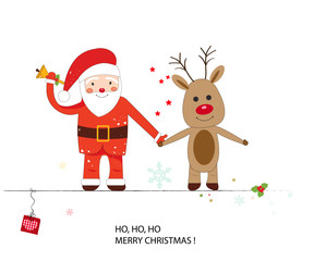 Santa claus and deer hand holding. Happy new year and merry christmas greeting card