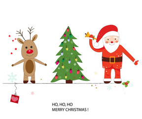 Santa claus, deer and Christmas tree. Happy new year and merry christmas greeting card