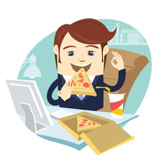 Vector illustration Funny business man eating pizza at his office work place with OK sign. Flat style